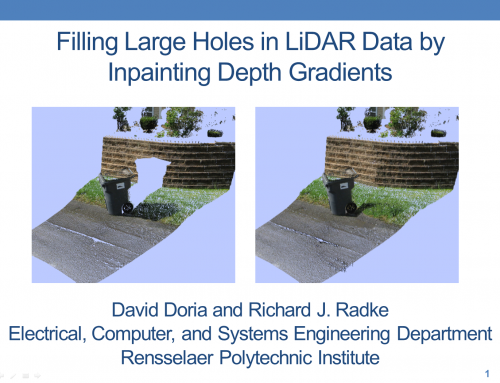 Filling Large Holes in LiDAR Data By Inpainting Depth Gradients Presentation