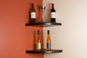 White Oak Floating Corner Shelves